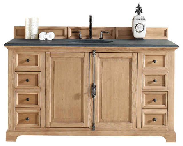 Providence 60 Natural Oak Single Vanity With Absolute Black Rustic Ston