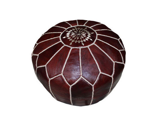 Moroccan Leather Footstool Pouf, Pouffe Dark Brown -