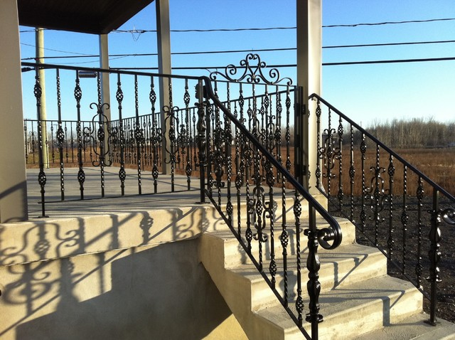 Exterior metal railing mediterranean patio