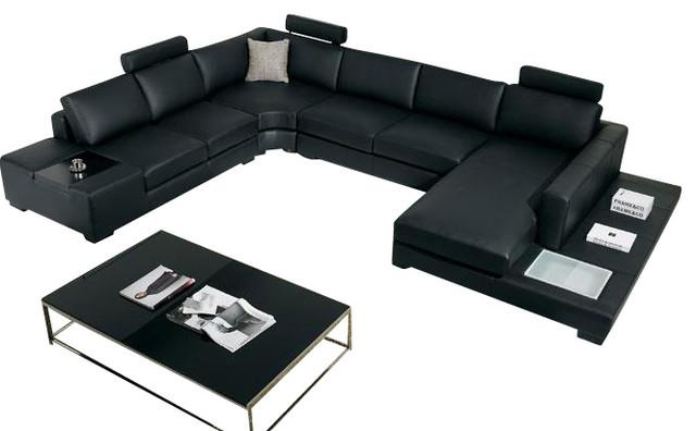 Black Top Grain Italian Leather Sectional Sofa modern-sectional-sofas