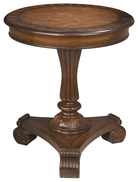 Traditional Mahogany Round End Table Traditional Side Tables And End Tables By Lamps Plus