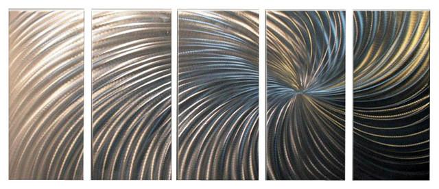 Metal Wall Art Abstract Sculpture Home Decor Modern Silver