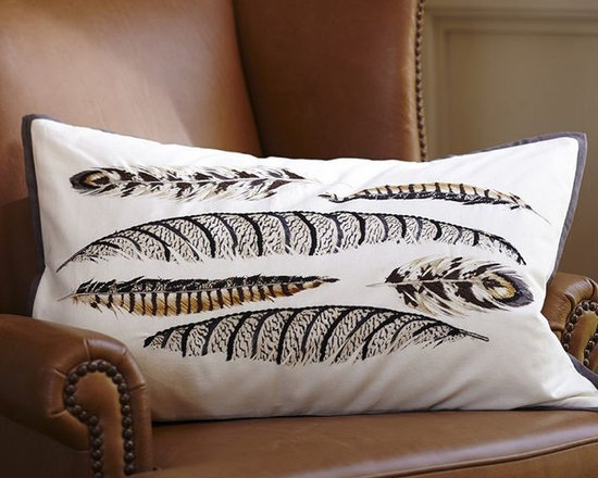 Feathered Embroidered Lumbar Pillow Cover -