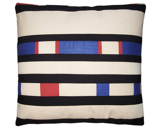 Mondrian Inspired Pillow Cover - High-end Custom and Ready made pillows available on-line. Limited Edition of Pillows Inspired by the Painter, Mondrian.  Pillow Covesr Consist of Hand Cut and Pieced Remnant Fabrics in the Primary Colors Combined with Black on a Ground of White.  Tailored for That Sleek Modern or Contemporary Interior.  (All Sold)   Couture Custom Workroom Services Available. Artisanaworks