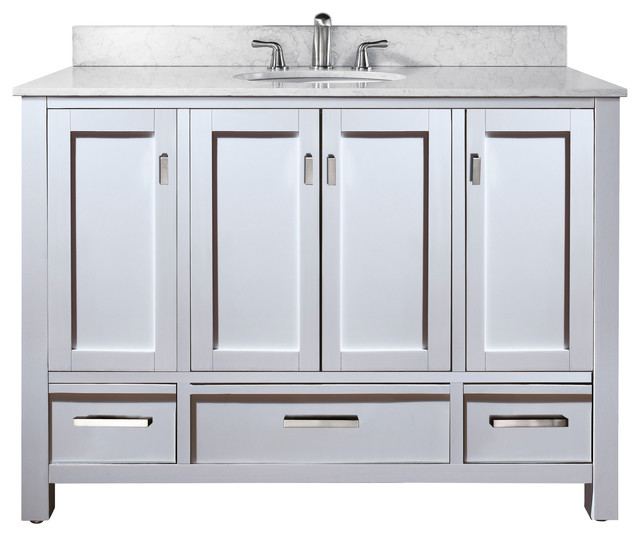 Modero 48 Vanity Combo White Black Granite Top Contemporary Bathroom Vanities And Sink