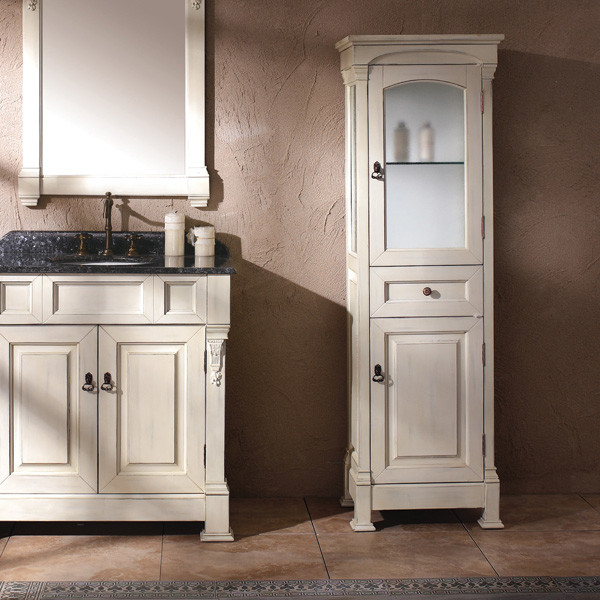 Bates linen cabinet antique white transitional bathroom cabinets and shelves by thos baker - Antique bathroom linen cabinets ideas ...