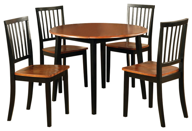 Steve silver branson 5 piece double drop leaf 42 inch for Dining room tables 42 round