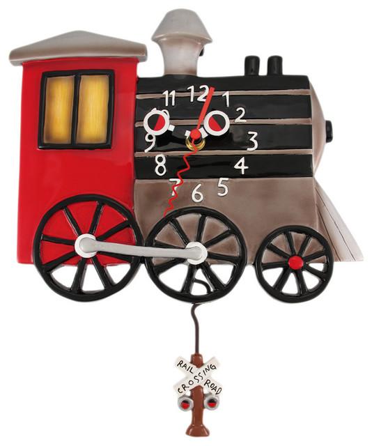 Allen Designs Toots Retro Locomotive Pendulum Wall Clock Train eclectic-wall-clocks