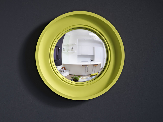Cavetto Brights in pale lime contemporary-mirrors