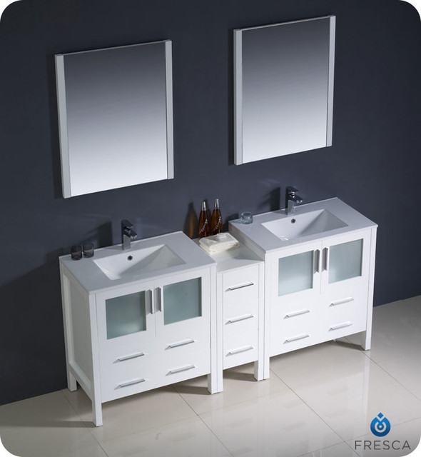 """72"""" Torino Wide Double Modern Vanity - White (FVN62-301230WH-UNS) modern"""