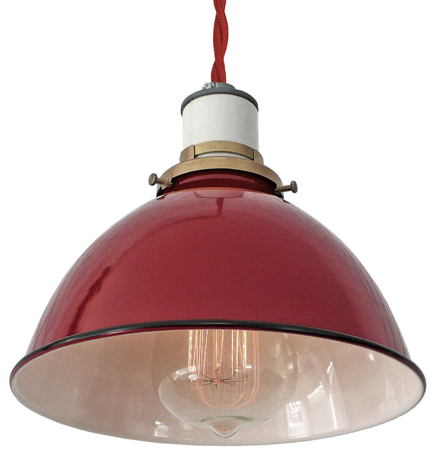 The Sullivan Industrial Lamp Red Twisted Cord Pendant Industrial Pendan