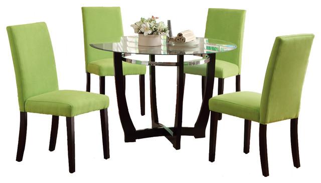 5 PC Round Glass Top Dining Set Chair Espresso Base Apple Green Contempor