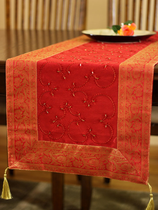 """Elegant Table Runners - Holidays Decor """"Scarlet Red"""" Table Runner. Unique embroidered Indian design. Dupion fabric. Perfect decor idea to embellish your room."""