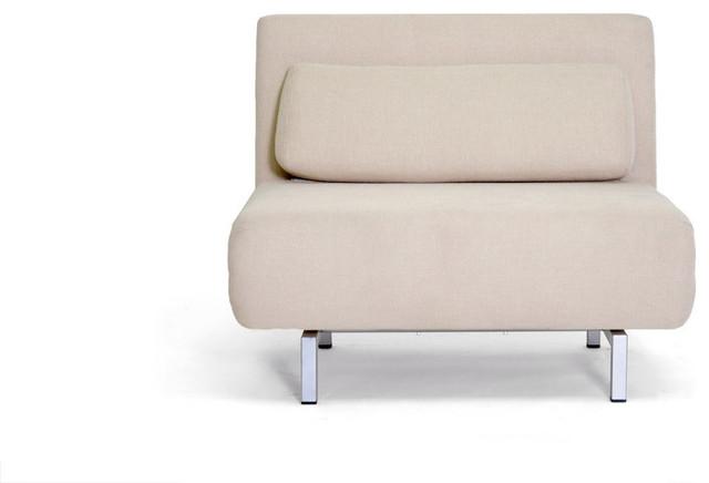 Baxton Studios Romano Convertible Sofa Chair Bed - Cream contemporary-futons