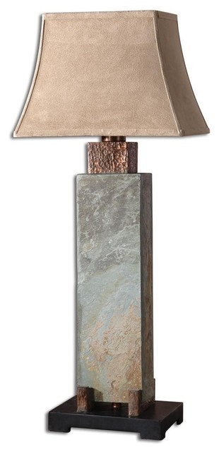 Uttermost Slate Tall Table Lamp in Hand Carved Slate eclectic-table-lamps