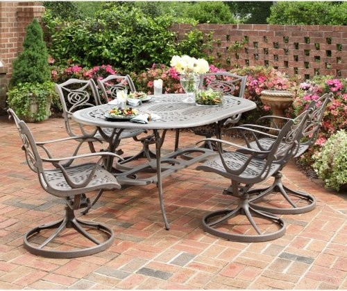 Home Styles Malibu Taupe Swivel Patio Dining Set Seats 6 Traditional Pa