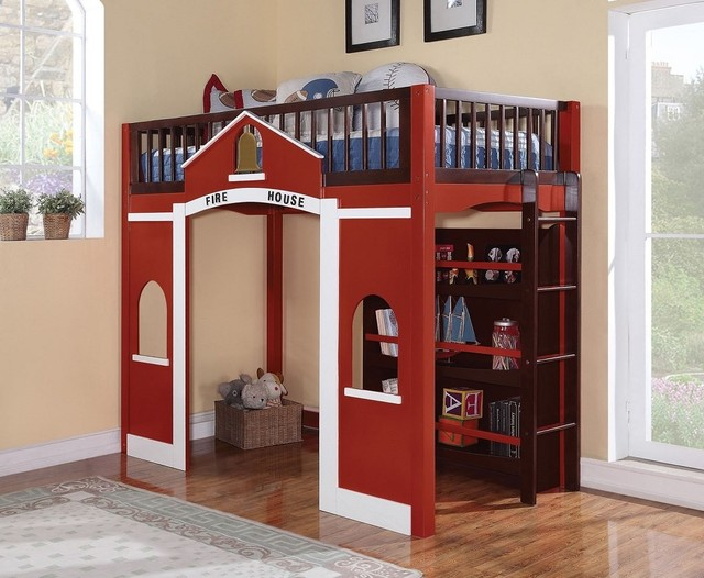 Fireman in training twin loft bed craftsman kids beds other metro by bunk bed land - Fireman bunk bed ...