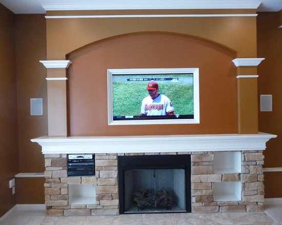 Custom Fireplace Mantle with Wide Screen TV -