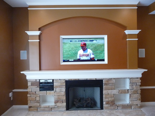 Custom Fireplace Mantle with Wide Screen TV