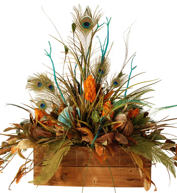 Large Floral In Wooden Box With Peacock Feathers Rustic