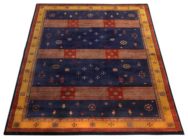 Rugsville Gabbeh Tribal Navy Blue Gold Wool Rug 13230 6x9