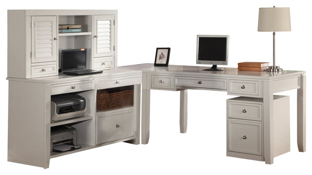 parker house boca l shaped credenza with hutch and rolling