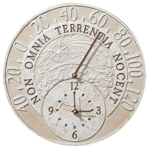 Fossil Celestial Thermometer Clock - Weathered Limestone industrial-outdoor-clocks