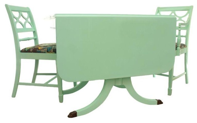 Pre Owned Duncan Phyfe Mint Green Table 4 Chairs Contemporary Dining Sets By Chairish