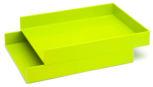 Letter Trays, Lime Green, Set of 2 - Modern - Desk Accessories