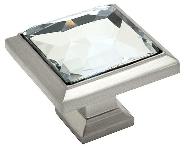 Cosmas Square Cabinet Knob, Satin Nickel and Clear Glass - Traditional - Cabinet And Drawer ...