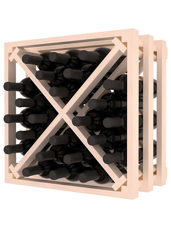 Lattice Stacking X Wine Cube in Pine with White Wash Stain - Designed to stack one on top of the other for space-saving wine storage our stacking cubes are ideal for an expanding collection. Use as a stand alone rack in your kitchen or living space or pair with the 16-Bottle Cubicle Wine Rack and/or the Stemware Rack Cube for flexible storage.