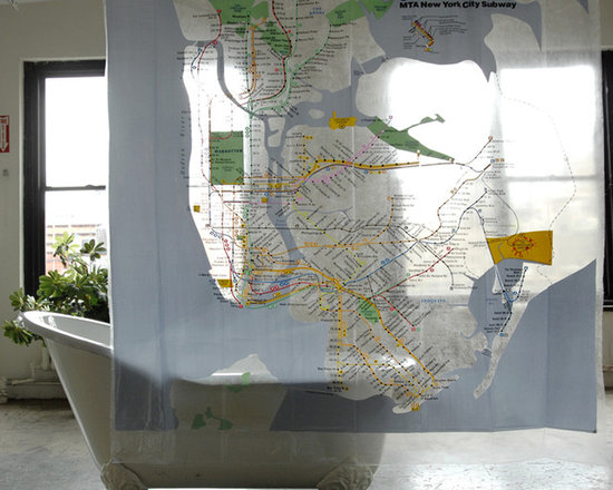 New York City Subway Map Shower Curtain Version 1, Clear -