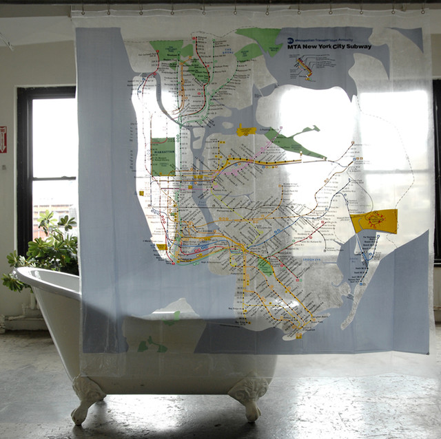 New York City Subway Map Shower Curtain Version 1, Clear