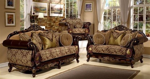 Homey Design Siena Espresso Rub Sofa Nd Loveseat Set