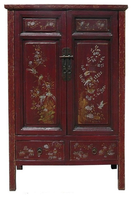 Chinese Flower Bird Graphic Accent Armoire - Asian - Armoires And Wardrobes - by Golden Lotus ...
