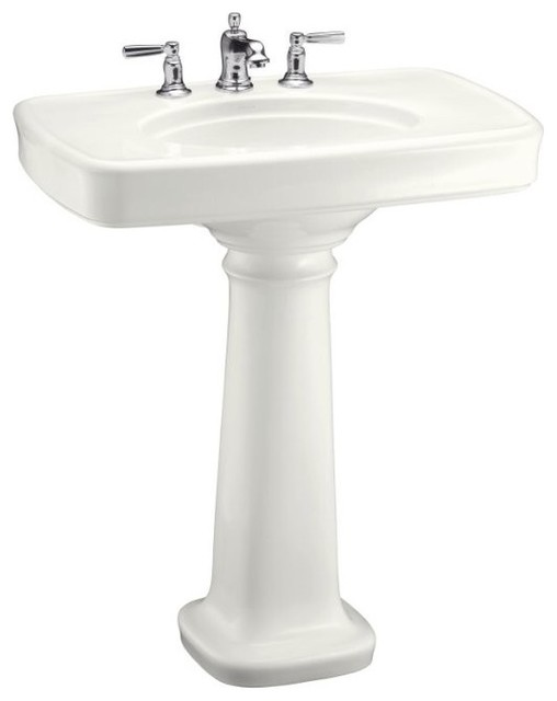 KOHLER K-2347-8-96 Bancroft Pedestal Lavatory with Centers for 8 Centers in Bis traditional bathroom sinks