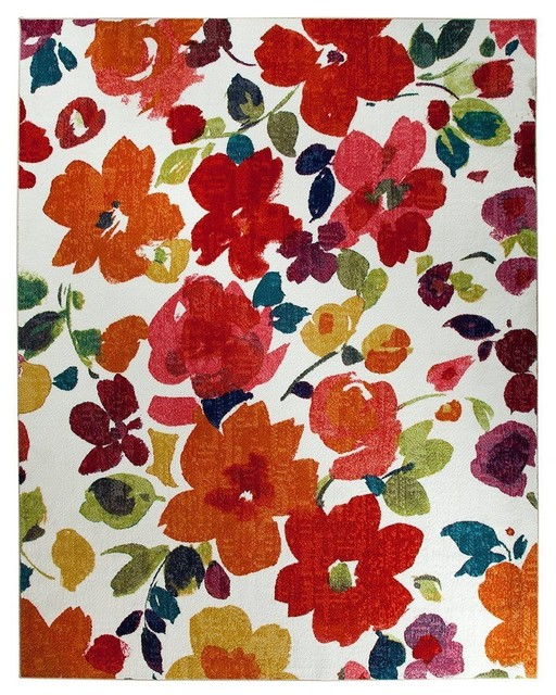 Country & Floral Bright Floral Toss 8'x10' Rectangle Multi Color Area Rug tropical-rugs