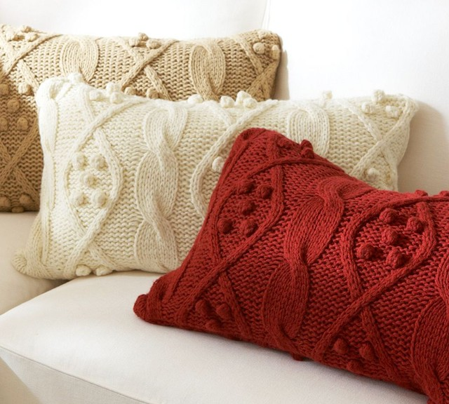 Bobble-Knit Lumbar Pillow Cover traditional-pillows