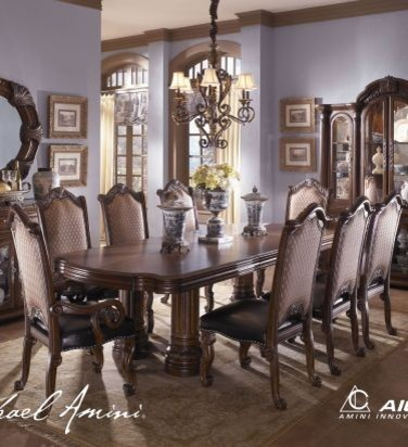 AICO Furniture - Monte Carlo II Rectangular Double Pedestal Dining Table - Cafe transitional-dining-tables