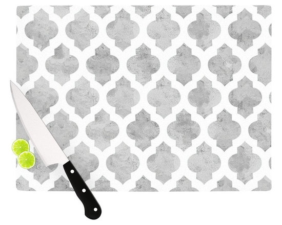 "Kess InHouse - Amanda Lane ""Gray Moroccan"" Grey White Cutting Board (11.5"" x 15.75"") - These sturdy tempered glass cutting boards will make everything you chop look like a Dutch painting. Perfect the art of cooking with your KESS InHouse unique art cutting board. Go for patterns or painted, either way this non-skid, dishwasher safe cutting board is perfect for preparing any artistic dinner or serving. Cut, chop, serve or frame, all of these unique cutting boards are gorgeous."