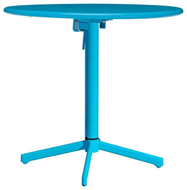 Big Wave Aqua Round Outdoor Folding Table contemporary-outdoor-tables