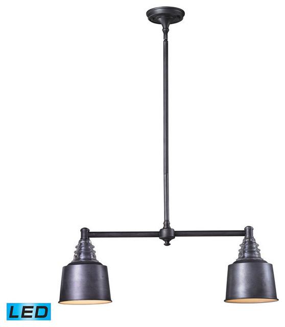 Landmark Lighting insulator Glass 66832-2-LED 2 Light Island in Weathered Zinc contemporary-kitchen-island-lighting