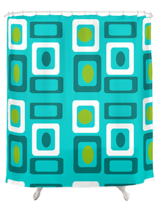 Crash Pad Designs - Crash Pad Designs 50's inspired Shower Curtain-Turquoise - Outfit your bathroom with this playful shower curtain for a pop of color. The mod geometric design is printed on machine washable woven polyester, which features 12-stitched button holes for hanging. liner and rings are not included.