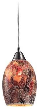"Avalon Red Glass 5"" Wide Satin Nickel Pendant Light contemporary-pendant-lighting"