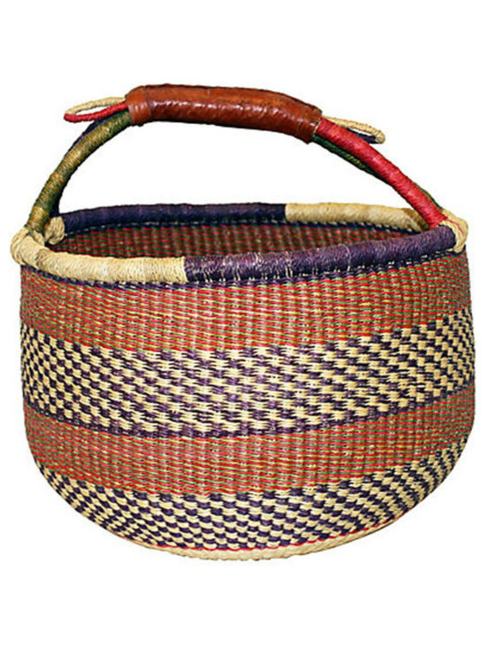 Ghanaian Bolga Shopping Tote Basket - The distinctive character of handwoven baskets makes each one as unique as its weaver. Fill this beautifully crafted Ghanaian tote with fruit and flowers from the garden, or take it with you to the local farmer's market. This high-walled, round tote features alternating patterns of red and purple bands in stripes and checkers.