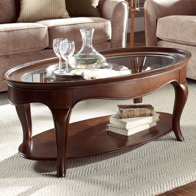 Cherry Grove Oval Cocktail Table Glass Top Traditional Coffee Tables By Modern Furniture