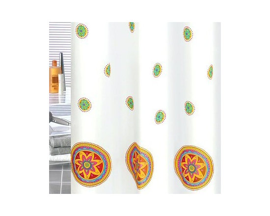 Mandala Luxury Fabric Shower Curtain from Vita Futura - Our Mandala shower curtain features a scene of colorful flower medallions over a white background with heavy-duty palstic grommets / eyelets and a weighted hem. Much like the shower curtains you find in many luxury hotels and spas, this shower curtain does not require the use of a shower curtain liner. Made of quick-dry and easy-care fabric.  Our shower curtains, along with all of the products we offer, are designed and produced in Germany.