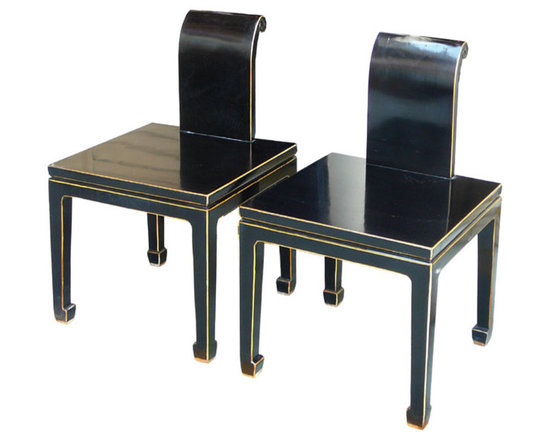 2 x Black Lacquer Modern Contemporary Fusion Chair -