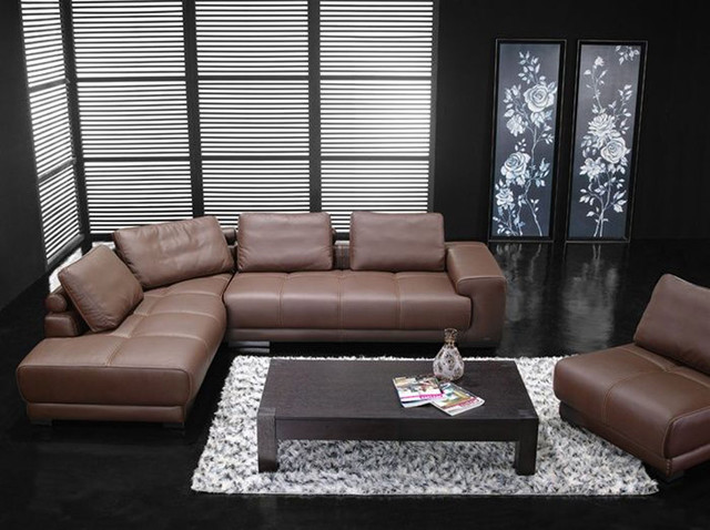 Contemporary Top Grain Leather Sectional - modern - sectional