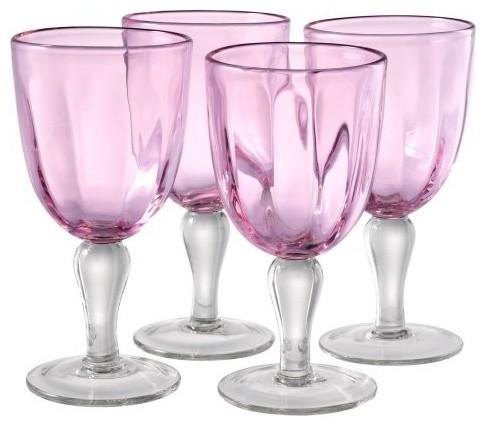 Artland Inc. Kassie Pink Goblet Glasses, Set of 4 contemporary-wine-glasses